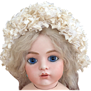 Original antique silk frilly bonnet for Bru or Jumeau