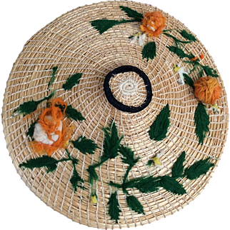 Wonderful original straw summer doll bonnet