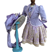 Couture Dress, jacket, bonnet in antique lavender silk and lace for Jumeau bebe