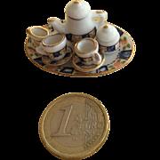 Miniature 1:12 scale tea set blue