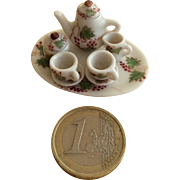 Miniature hand painted doll house tea set 1:12