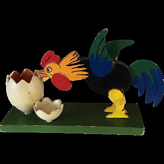 Antique wooden folk art cockerel and egg - easter decoration
