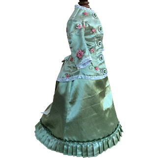 Beautiful two piece walking costume for antique poupee