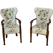 Pair of 1:12 scale replica Winston Churchill chairs from Chatsworth House