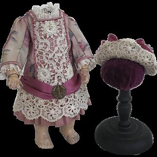Dress and hat size 1 Jumeau antique ikat silk