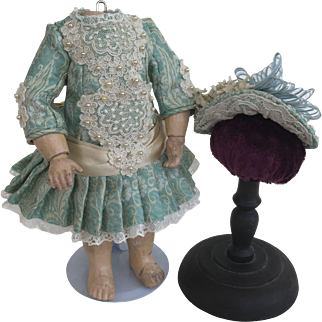 Dress and hat for size 1 Jumeau turquoise and champagne