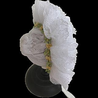 Beautiful frilly lace bonnet for size 1 Jumeau or similar