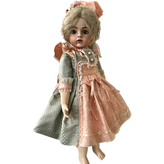 Stunning costume dress and bonnet in antique fabrics for French doll