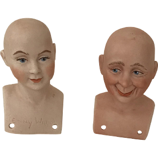 Two wonderful artist original heads of man and woman Watkins 1963