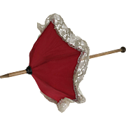 Red silk parasol umbrella