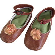 Soft tan leather shoes for large doll