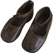 Brown leather large doll shoes