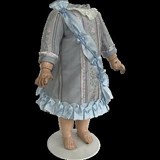 "Dress for Jumeau 11"" body in blue antique silk brocade"