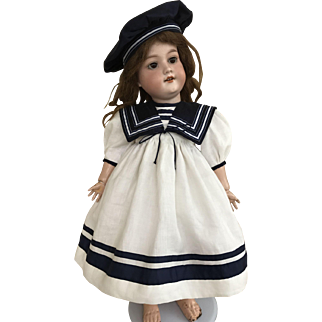 Navy and white sailor dress and hat