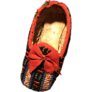 Single antique tapestry dolls slipper