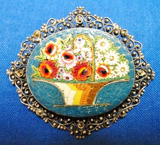 800 Silver Micro Mosaic & Marcasite Flower Basket Pin Brooch