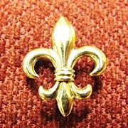14KT Yellow Gold Fleur Di Lis Watch Pin CA. 1895-1920's