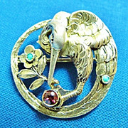 Art Nouveau Vermeil Sterling Stork Bird Pin Germany