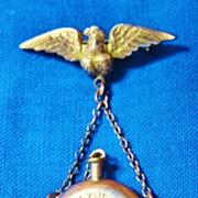 NY 114th Regiment Civil War Soldiers ID'd Gold Eagle & Canteen Pendant