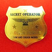 Melvin Purvis Secret Operator Law and Order Patrol Badge Premium Post Cereal 1936