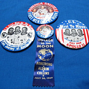 4 Apollo 11 Space Flight 1st Men on Moon Landing 1969 Pinback Buttons