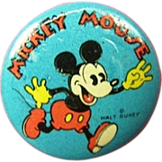 Scarce Mickey Mouse Lithographed Pinback Button 1930's