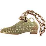 D & S Boot Shop Worcester, Mass Advertising Shoe Shaped Keychain ca. 1930's-40's