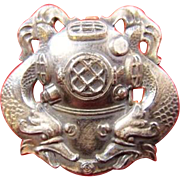 U.S. Navy or Army First Class Diver Proficiency Badge Pin Circa Late WWII to Korean War Period Very Rare! Gemsco Sterling