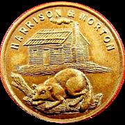 1888 Harrison & Morton Log Cabin and Beaver Campaign Political Lapel Stud