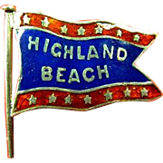 Highland Beach Atlantic Highlands, NJ Enamel Souvenir Banner Flag Lapel Stud Pin ca. 1890s-1910