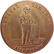 General Tom Thumb 15lbs. Weight Souvenir Circus Pocket Token ca. 1852 AU Condition