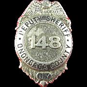 New York Onondaga County Deputy Sheriff #148 Whitehead & Hoag Badge ca. 1930s-40s