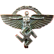 "WWII German NSFK National Socialist Flying Corps ""Winged Man"" Members Pin War Souvenir"