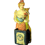 Columbia Mill Company Miss Liberty Die-Cut Tin Lithograph Advertising Wall Match Safe (ca. 1890s-1900)