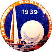 1939 New York World's Fair Souvenir Pinback Button Trylon and Perisphere