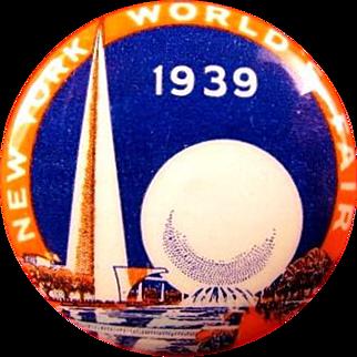 1939 New York World's Fair Souvenir Pinback Button Trylon and Perisphere