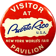 "1939 New York World's Fair ""Visit At Puerto Rico Pavillion"" Souvenir Pinback Button"