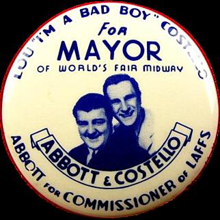 1939 New York World's Fair Abbott & Costello Souvenir Pinback Button Rare
