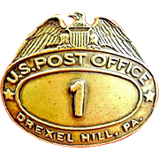 Drexel Hill, PA. U.S. Post Office Postal Carrier Cap Badge #1 ca. 1930's-40s
