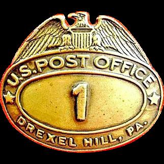 Drexel Hill, PA. U.S. Post Office Postal Carrier Cap Badge #1 ca. 1930's-40s
