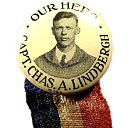 Our Hero Capt. Chas. A. Lindbergh Souvenir Pinback Button 1927