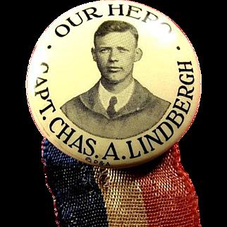 Our Hero Capt. Chas. A. Lindbergh Souvenir Pinback Button 1927