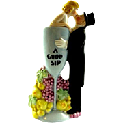 "Schafer & Vater Porcelain Germany ""A Good Sip"" Figural Whiskey Nip Flask ca.1915-1920s"
