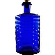 "Cobalt Blue Ribbed Double Poison Bottle KI-1 5-1/2"" American Pat. Applied For"