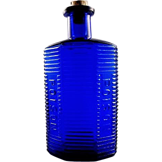 "Cobalt Blue Ribbed Double Poison Bottle KI-1 5-1/2"" American Pat. Applied For"
