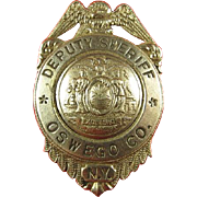 Obsolete Deputy Sheriff Oswego County (NY) Badge ca. 1940s