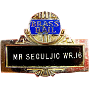 Brass Rail Restaurant Waiters ID Badge New York City Art Deco Style ca. 1950s