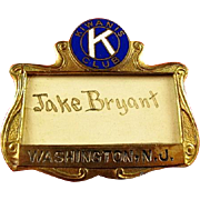 Kiwanis Club Washington, N.J. ID Badge ca. 1920's-30s