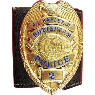 Obsolete Rotterdam, NY Personalized Wallet Size Police Badge Sterling  ca. 1950s