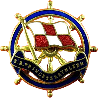 S.S. Princess Kathleen Canadian-Pacific Lines Steamship Oceanliner Souvenir Wheel Pin ca. 1925-1952